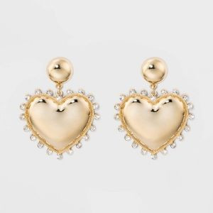 BaubleBar Gilded Heart Drop Earrings
